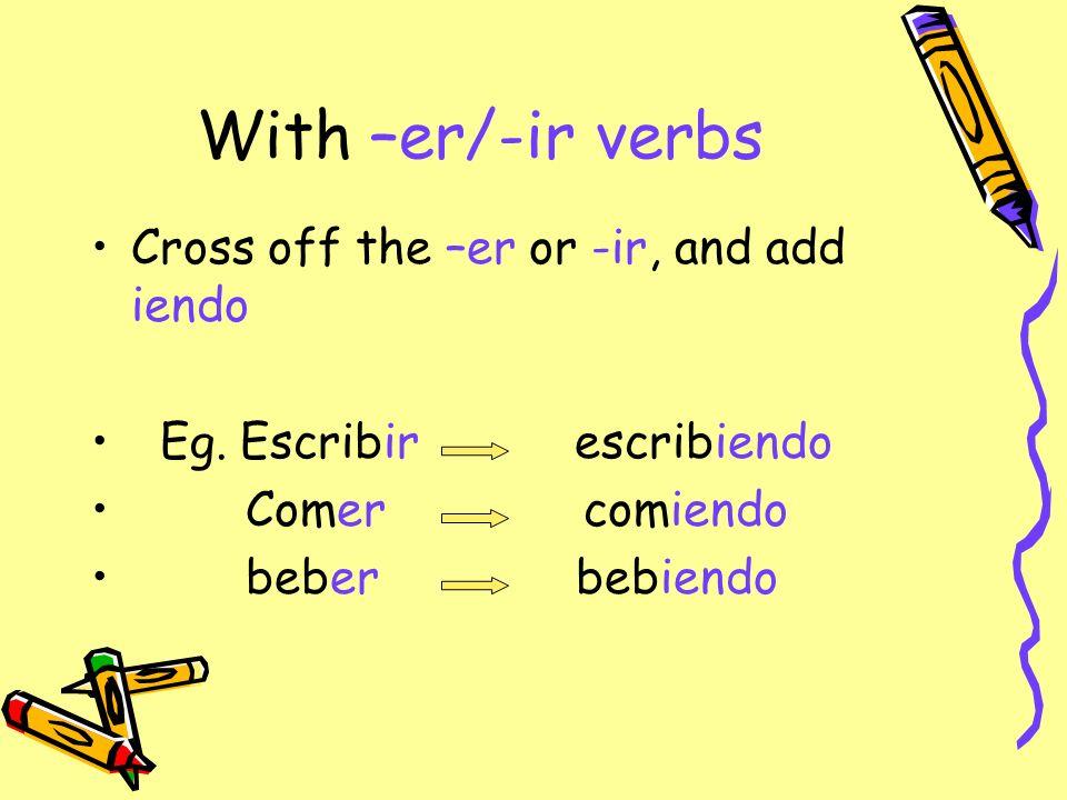 With –er/-ir verbs Cross off the –er or -ir, and add iendo Eg. Escribir escribiendo Comer comiendo beber bebiendo