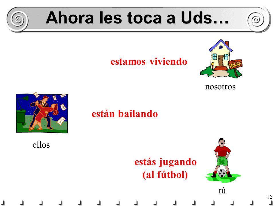 11 Completen las frases… ¿Qué ____ ________ tú? (hacer)estás haciendo ¿Dónde ____ ________ Luis? (comer)está comiendo Ellas ____ ________ en Madrid. (
