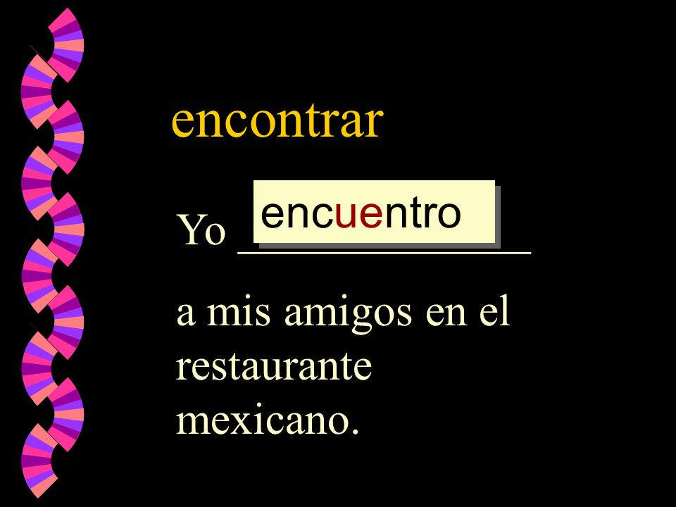 encontrar Yo _____________ a mis amigos en el restaurante mexicano. encontrar encontr encuentr encuentro
