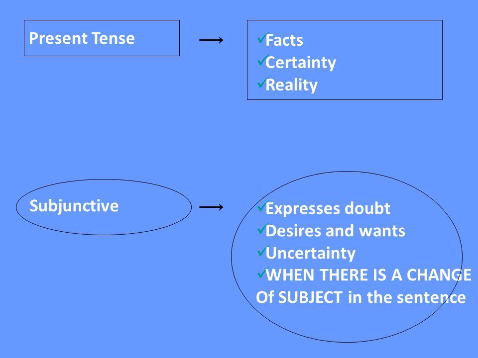 How to form the subjunctive; 1.Form of YO(present tense) 2.Drop the o 3.Add the opposite endings: 4.-AR:-e-emos -es -e-en 5.-ER / -IR:-a-amos -as -a-an