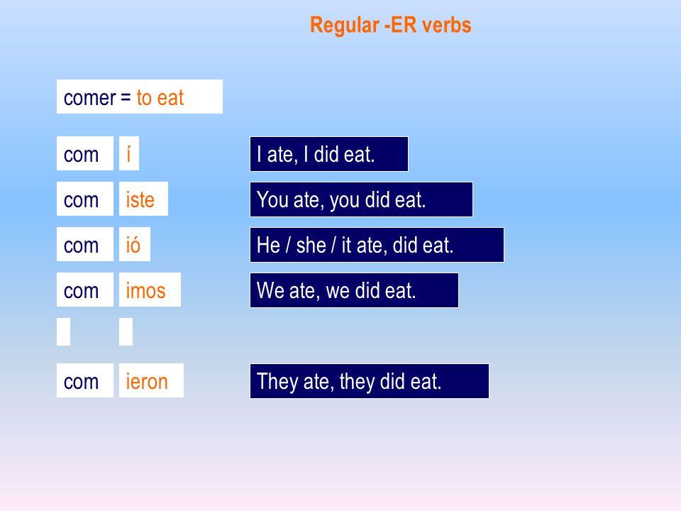 comer = to eat com í iste ió imos ieron Regular -ER verbs I ate, I did eat. You ate, you did eat. He / she / it ate, did eat. We ate, we did eat. They