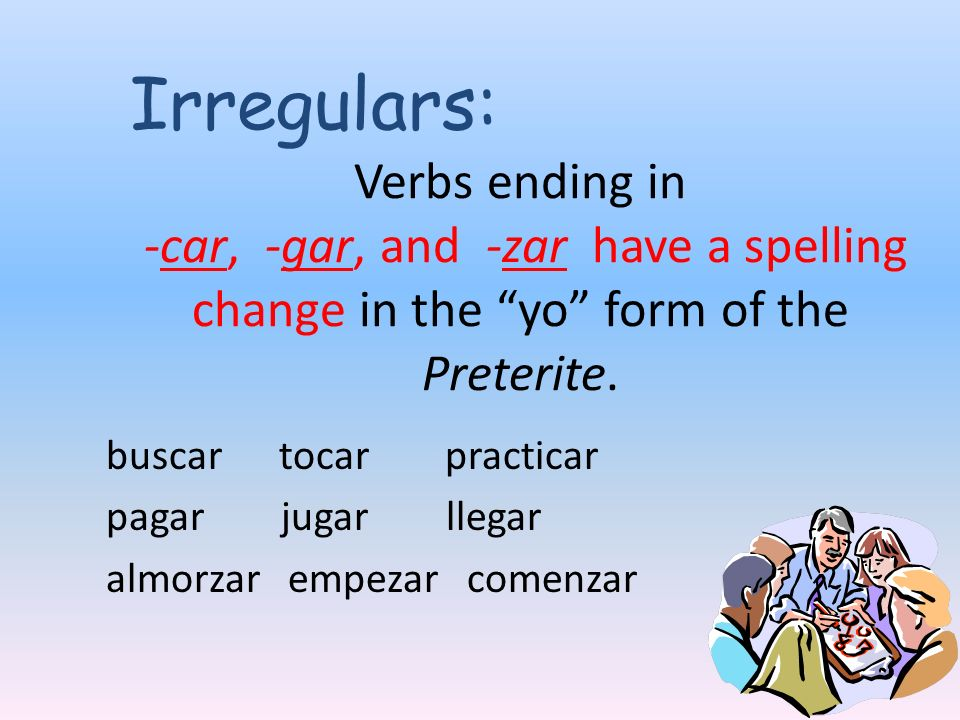 Verbs ending in -car, -gar, and -zar have a spelling change in the yo form of the Preterite.