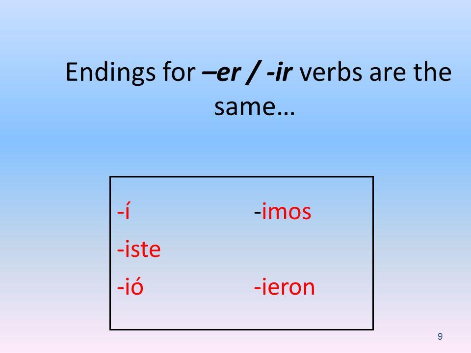 Endings for –er / -ir verbs are the same… -í -iste -ió -imos -ieron 9