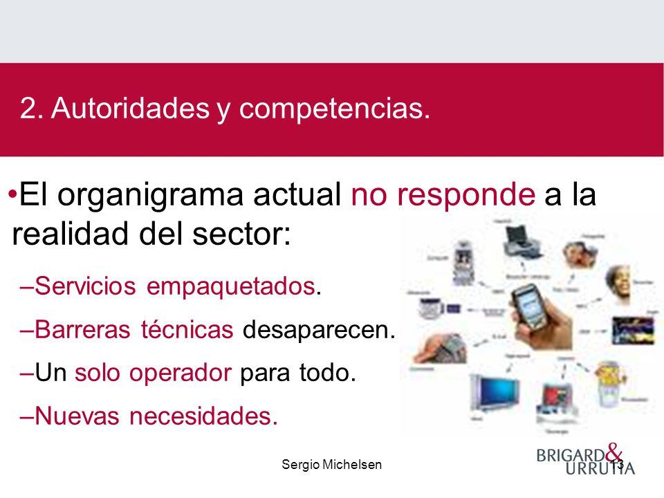Sergio Michelsen13 El organigrama actual no responde a la realidad del sector: –Servicios empaquetados.