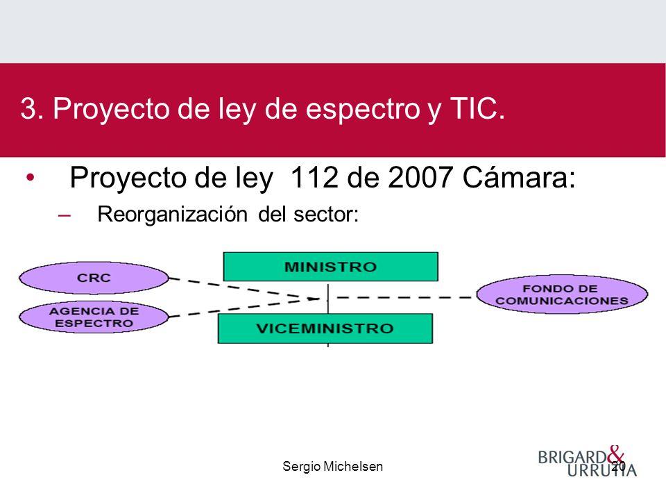 Sergio Michelsen20 Proyecto de ley 112 de 2007 Cámara: –Reorganización del sector: 3.