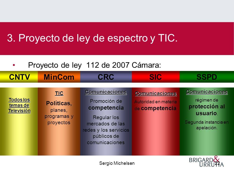 Sergio Michelsen22 Proyecto de ley 112 de 2007 Cámara: 3.