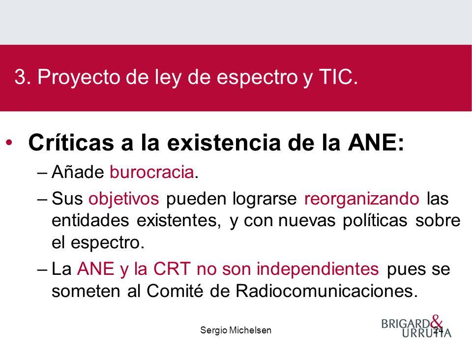 Sergio Michelsen24 Críticas a la existencia de la ANE: –Añade burocracia.