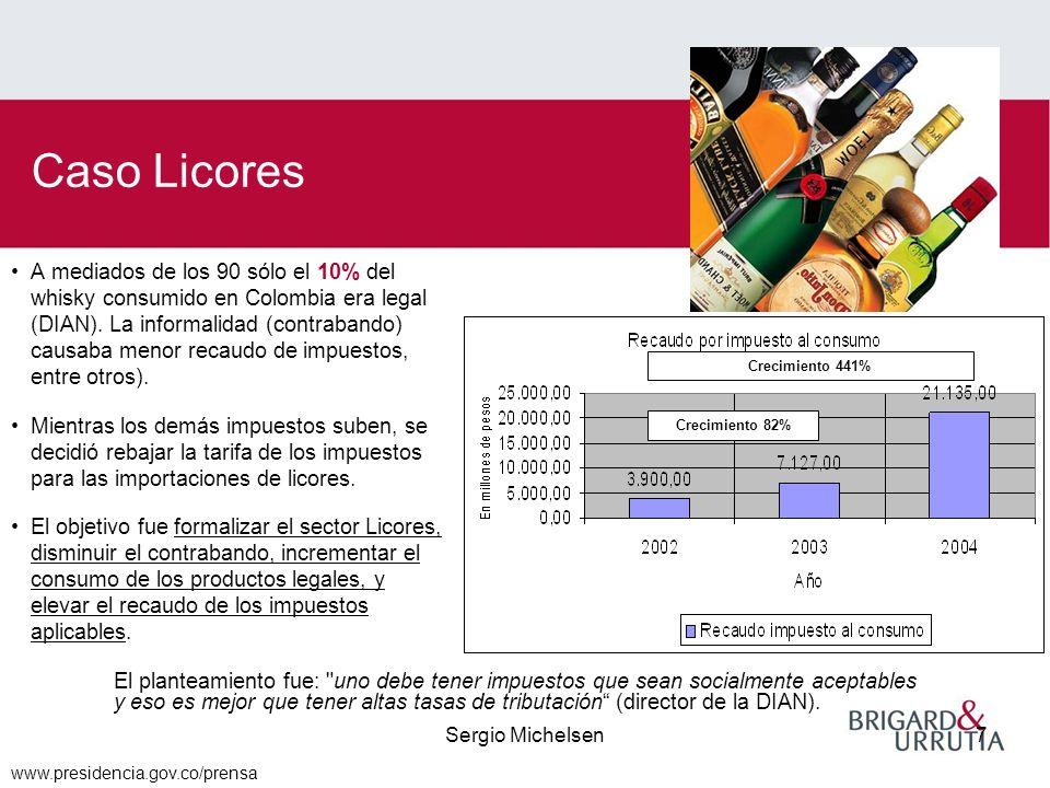 Sergio Michelsen7 A mediados de los 90 sólo el 10% del whisky consumido en Colombia era legal (DIAN).