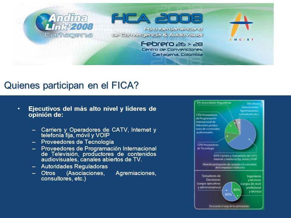 Temas principales del FICA 2008 Video: nuevas ventanas nuevos negocios Publicidad en nuevos medios Las nuevas plataformas: retos comerciales y tecnológicos para la entrega de contenidos audiovisuales Transición a la televisión digital y HD
