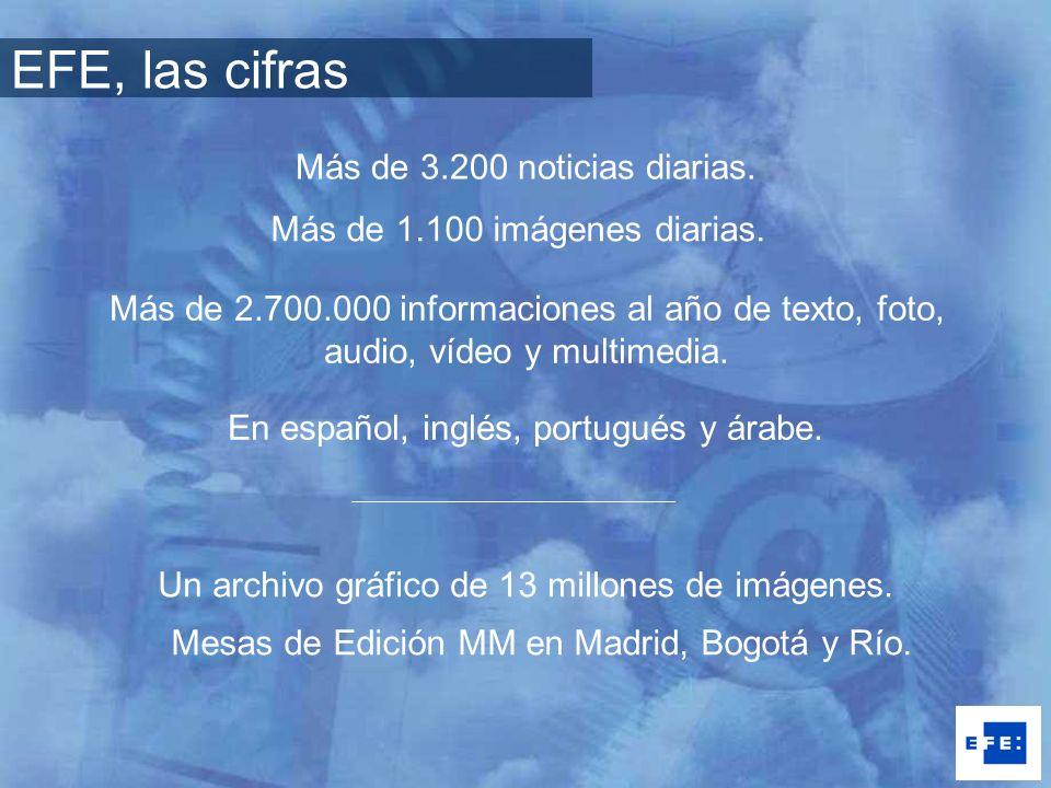 Más de 3.200 noticias diarias. Más de 1.100 imágenes diarias. En español, inglés, portugués y árabe. Más de 2.700.000 informaciones al año de texto, f