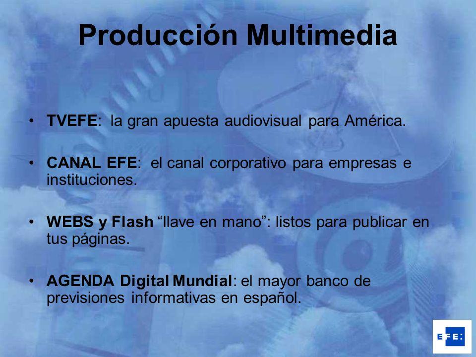 Producción Multimedia TVEFE: la gran apuesta audiovisual para América. CANAL EFE: el canal corporativo para empresas e instituciones. WEBS y Flash lla
