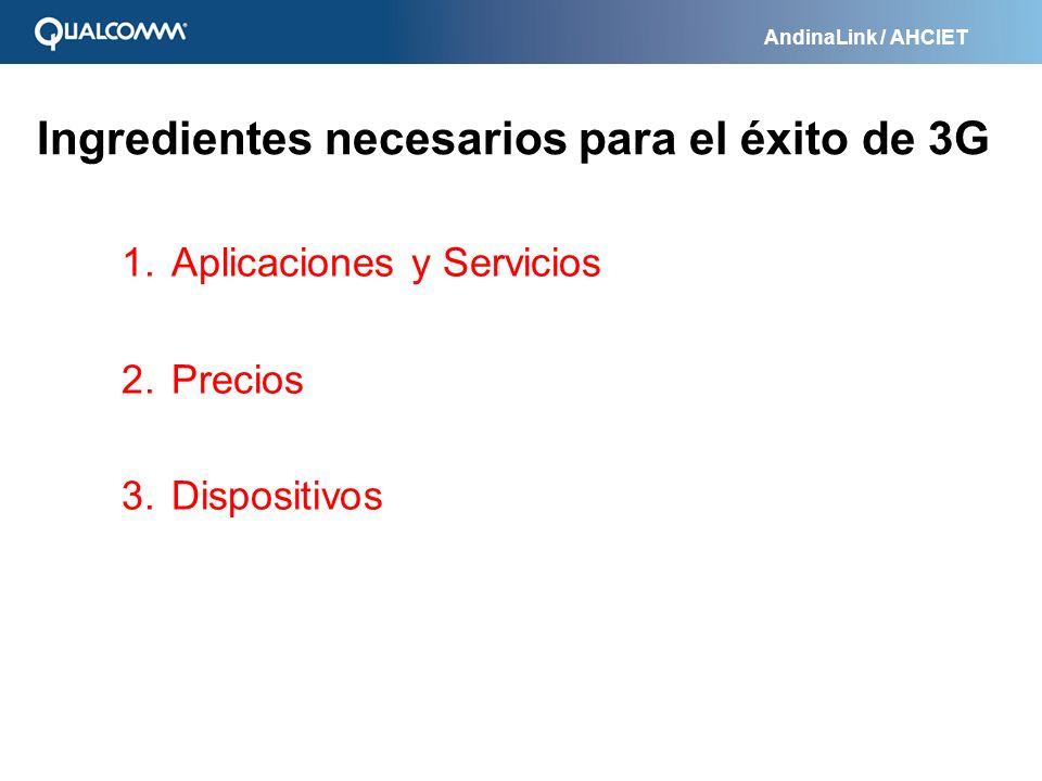 AndinaLink / AHCIET Ingredientes necesarios para el éxito de 3G 1. Aplicaciones y Servicios 2. Precios 3. Dispositivos