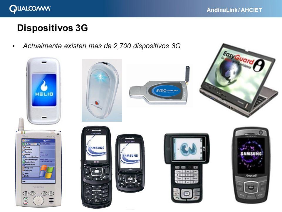 AndinaLink / AHCIET Actualmente existen mas de 2,700 dispositivos 3G Dispositivos 3G