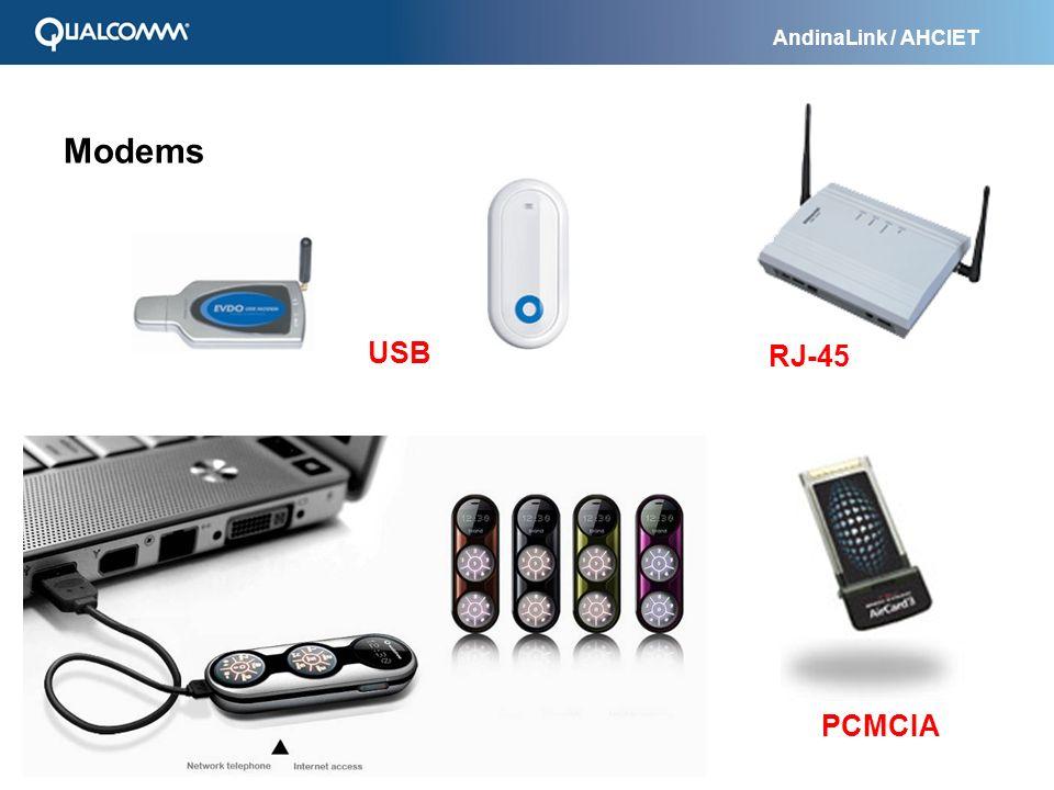 AndinaLink / AHCIET Modems RJ-45 USB PCMCIA