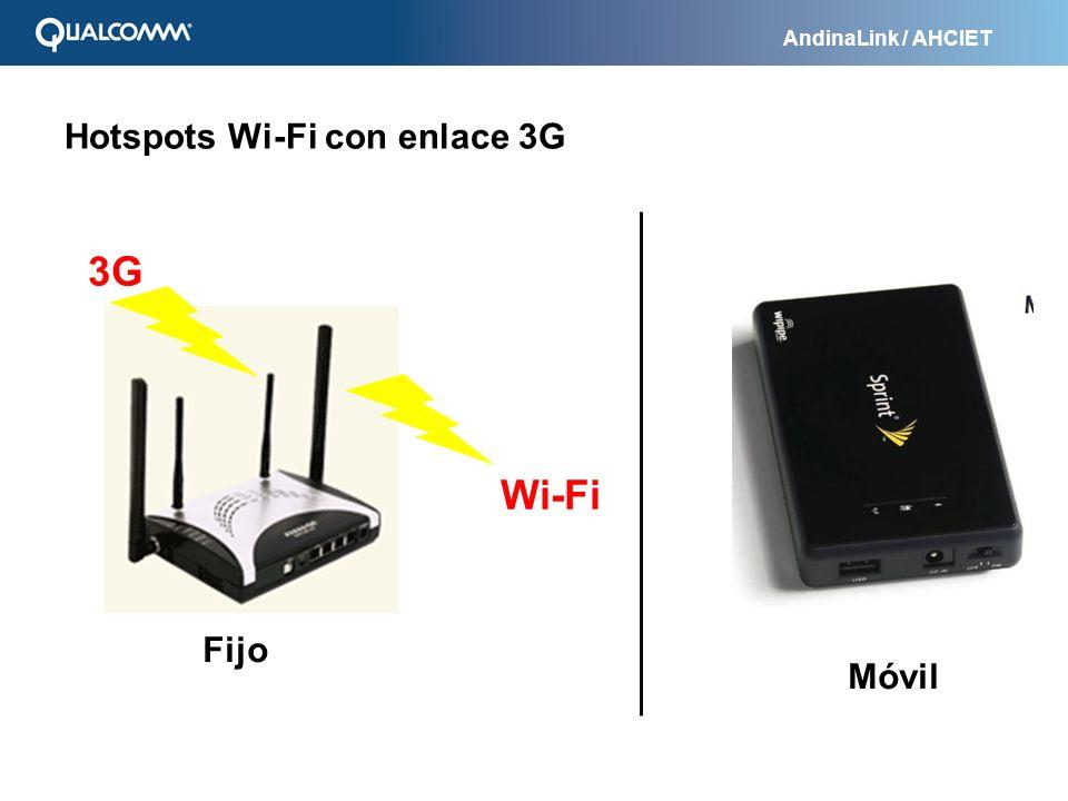 AndinaLink / AHCIET Hotspots Wi-Fi con enlace 3G 3G Wi-Fi Fijo Móvil
