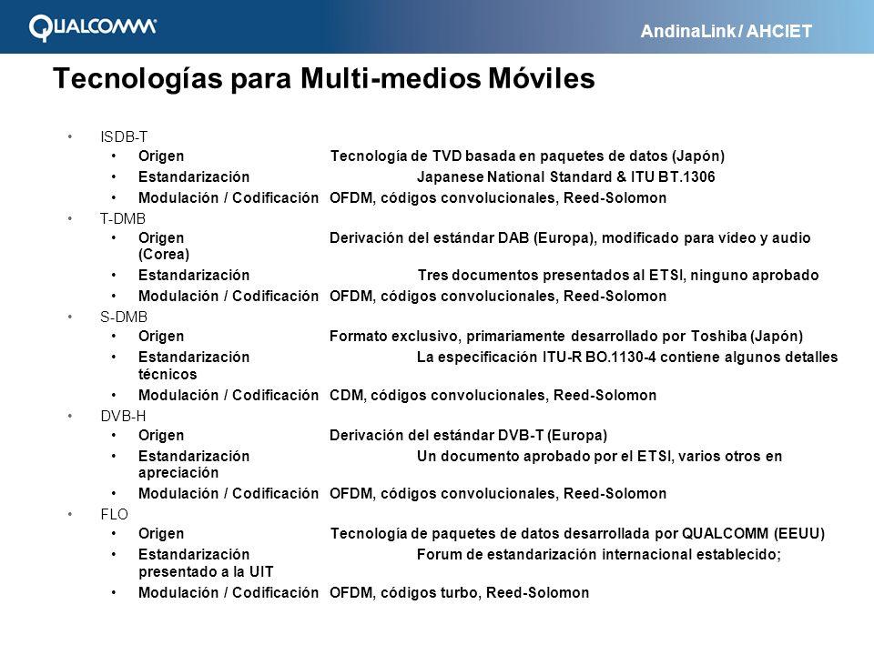 AndinaLink / AHCIET Tecnologías para Multi-medios Móviles ISDB-T OrigenTecnología de TVD basada en paquetes de datos (Japón) EstandarizaciónJapanese N
