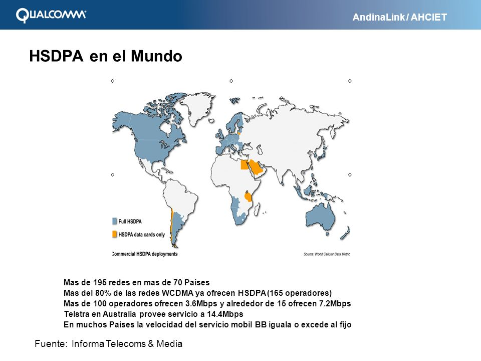 AndinaLink / AHCIET HSDPA en el Mundo Mas de 195 redes en mas de 70 Paises Mas del 80% de las redes WCDMA ya ofrecen HSDPA (165 operadores) Mas de 100