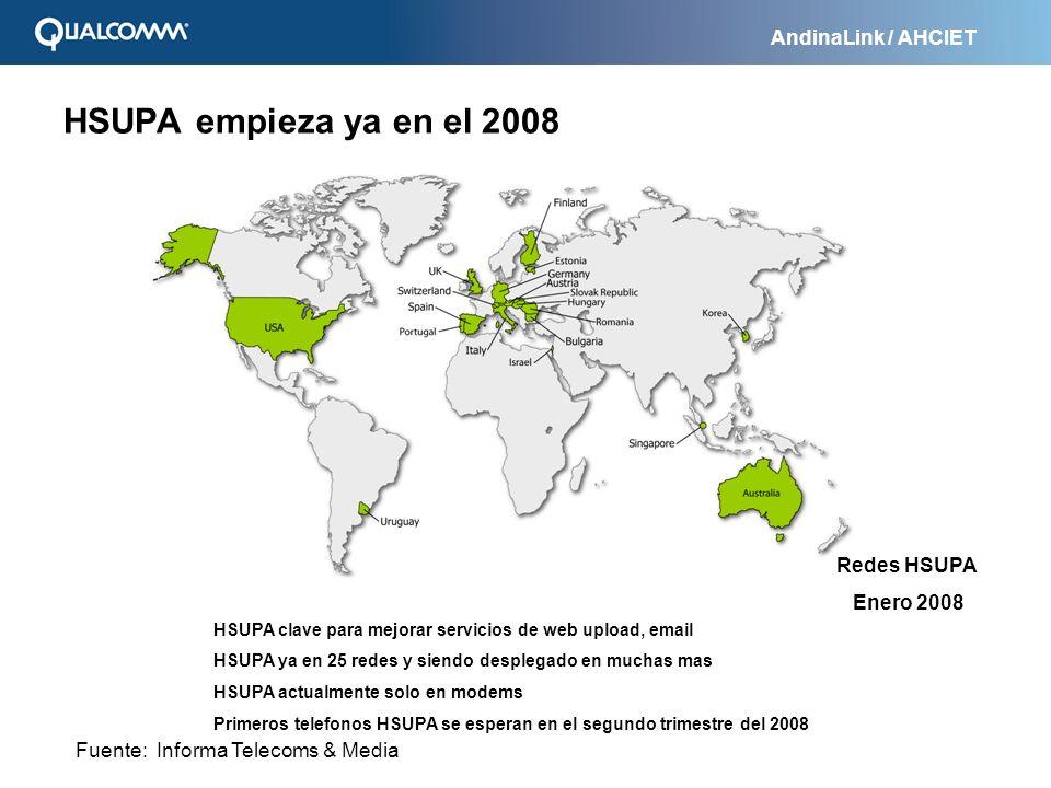 AndinaLink / AHCIET Bolivia México Brasil Colombia Chile Argentina Personal (Telecom Italia Mobile) Movistar (Telefónica) CTI Móvil (América Móvil) Entel PCS Movistar (Telefónica) Claro (América Móvil) Comcel (América Móvil) Anunciado: Tigo (MIC, EPM, ETB) Telcel (América Móvil) Uruguay Ancel (Estado Uruguayazo) Movistar (Telefónica) CTI Móvil (América Móvil) Claro (América Móvil) El Salvador Puerto Rico AT&T Wireless Republica Dominicana Claro (América Móvil) Paraguay CTI Móvil (América Móvil) Honduras Claro (América Móvil) Nicaragua Claro (América Móvil) HSPA en América Latina y el Caribe Fuente: Anuncios de prensas
