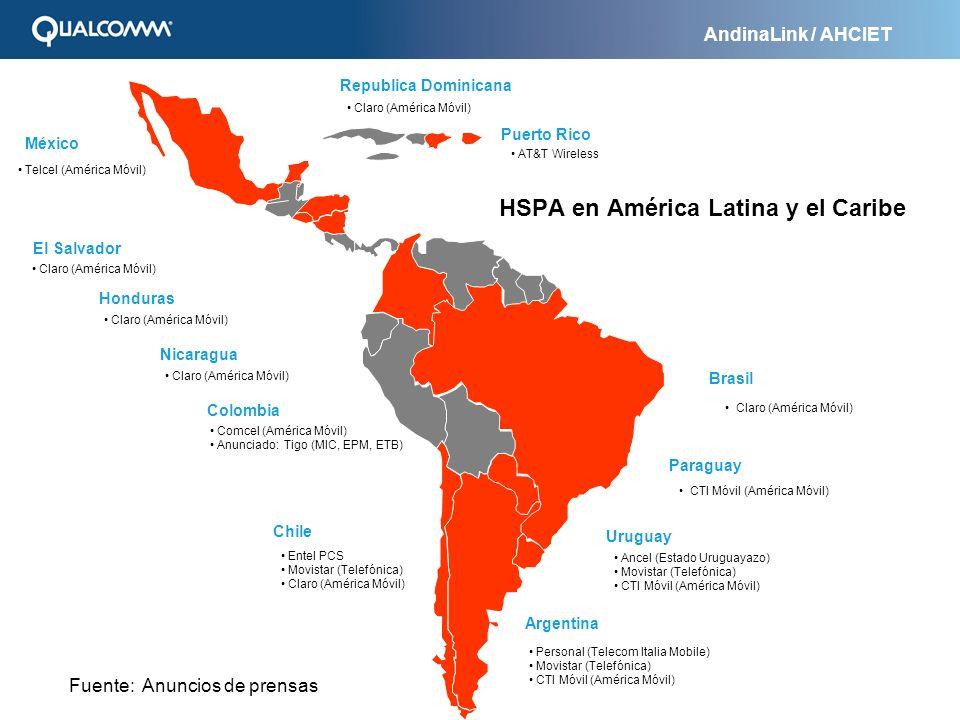 AndinaLink / AHCIET Bolivia México Brasil Colombia Chile Argentina Personal (Telecom Italia Mobile) Movistar (Telefónica) CTI Móvil (América Móvil) En