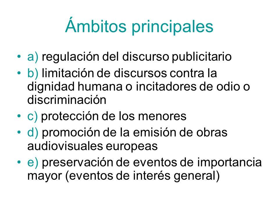 Ámbitos principales a) regulación del discurso publicitario b) limitación de discursos contra la dignidad humana o incitadores de odio o discriminació