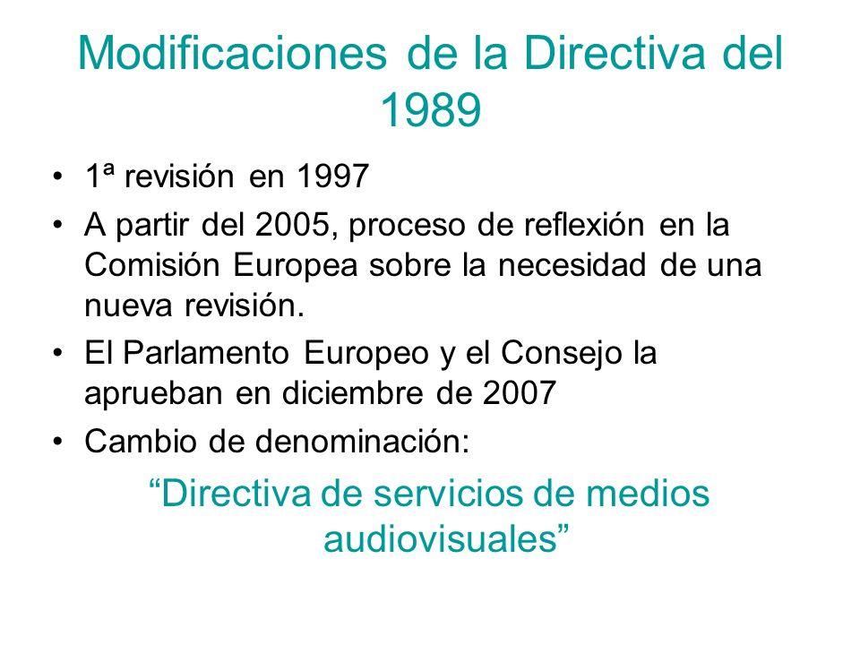 Modificaciones de la Directiva del 1989 1ª revisión en 1997 A partir del 2005, proceso de reflexión en la Comisión Europea sobre la necesidad de una n