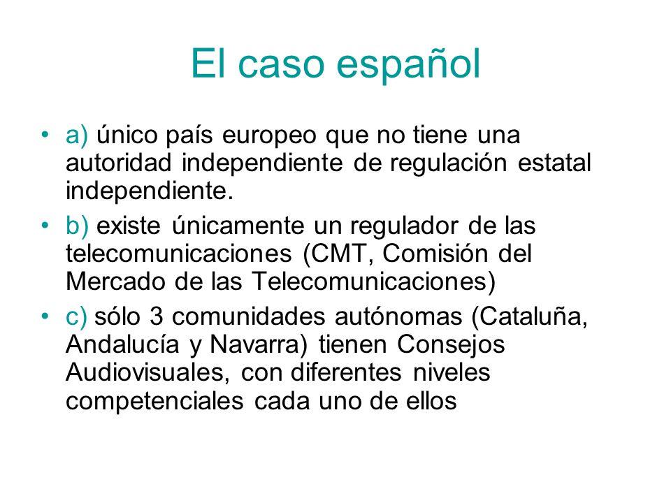 El caso español a) único país europeo que no tiene una autoridad independiente de regulación estatal independiente. b) existe únicamente un regulador