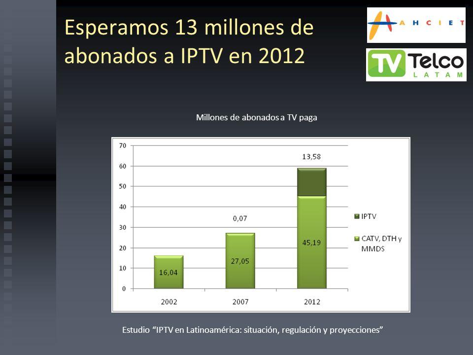 Esperamos 13 millones de abonados a IPTV en 2012 Estudio IPTV en Latinoamérica: situación, regulación y proyecciones Millones de abonados a TV paga