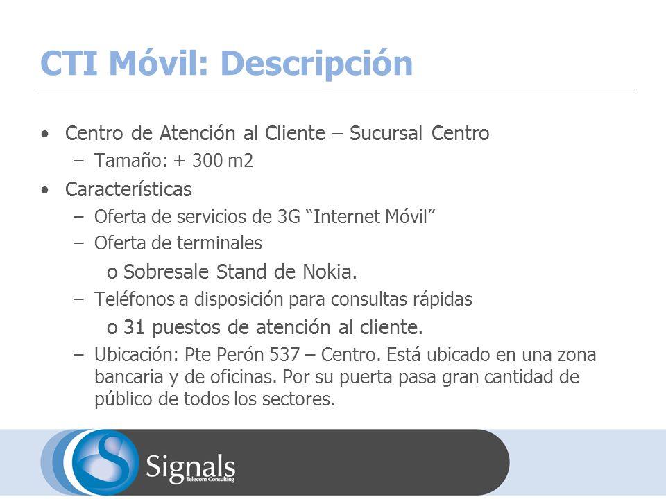 CTI Móvil: Descripción Centro de Atención al Cliente – Sucursal Centro –Tamaño: + 300 m2 Características –Oferta de servicios de 3G Internet Móvil –Oferta de terminales oSobresale Stand de Nokia.