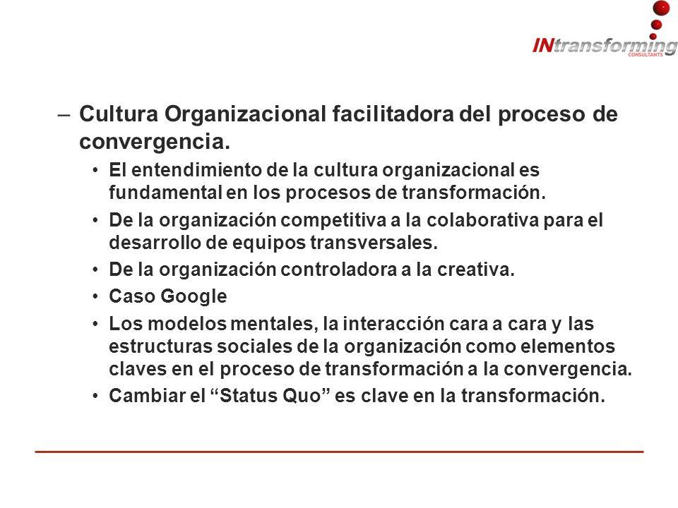 –Cultura Organizacional facilitadora del proceso de convergencia.