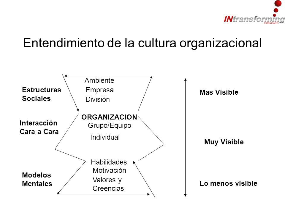 Entendimiento de la cultura organizacional Ambiente Empresa División ORGANIZACION Grupo/Equipo Individual Habilidades Motivación Valores y Creencias Estructuras Sociales Interacción Cara a Cara Modelos Mentales Mas Visible Muy Visible Lo menos visible