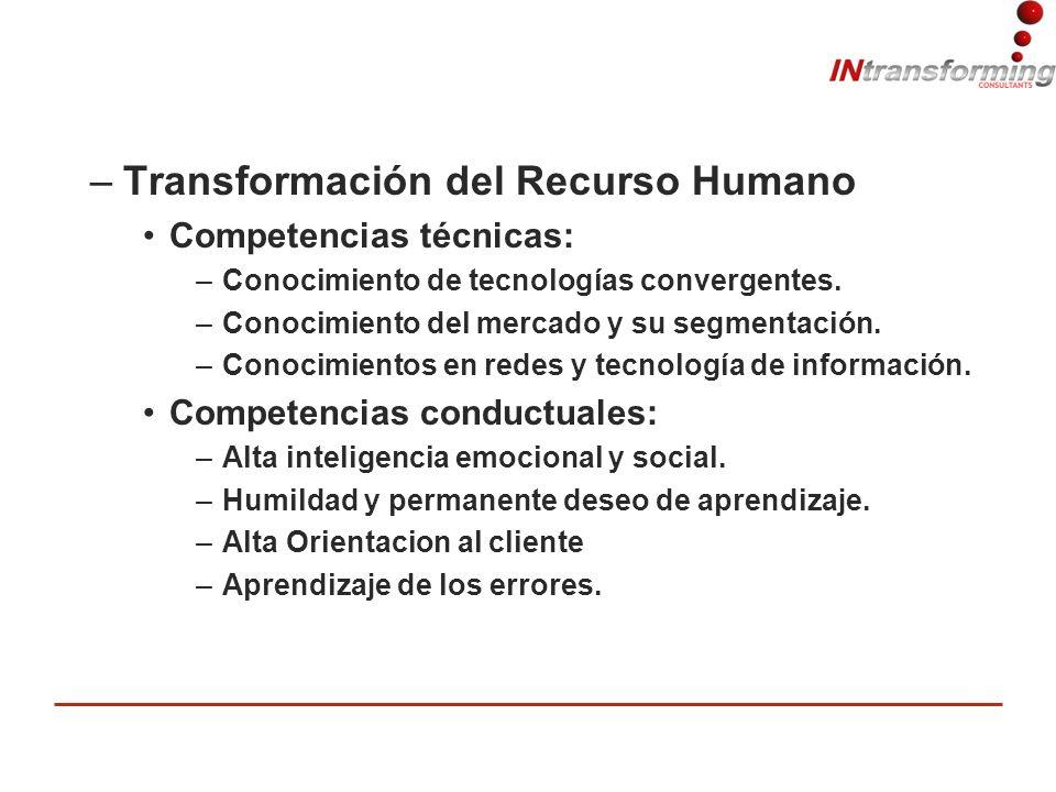 –Transformación del Recurso Humano Competencias técnicas: –Conocimiento de tecnologías convergentes.