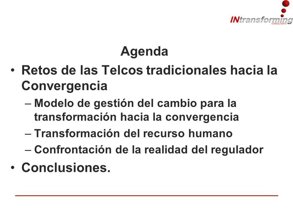 Agenda Retos de las Telcos tradicionales hacia la Convergencia –Modelo de gestión del cambio para la transformación hacia la convergencia –Transformación del recurso humano –Confrontación de la realidad del regulador Conclusiones.