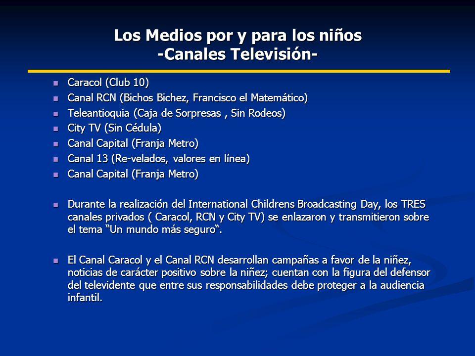 Caracol (Club 10) Caracol (Club 10) Canal RCN (Bichos Bichez, Francisco el Matemático) Canal RCN (Bichos Bichez, Francisco el Matemático) Teleantioquia (Caja de Sorpresas, Sin Rodeos) Teleantioquia (Caja de Sorpresas, Sin Rodeos) City TV (Sin Cédula) City TV (Sin Cédula) Canal Capital (Franja Metro) Canal Capital (Franja Metro) Canal 13 (Re-velados, valores en línea) Canal 13 (Re-velados, valores en línea) Canal Capital (Franja Metro) Canal Capital (Franja Metro) Durante la realización del International Childrens Broadcasting Day, los TRES canales privados ( Caracol, RCN y City TV) se enlazaron y transmitieron sobre el tema Un mundo más seguro.