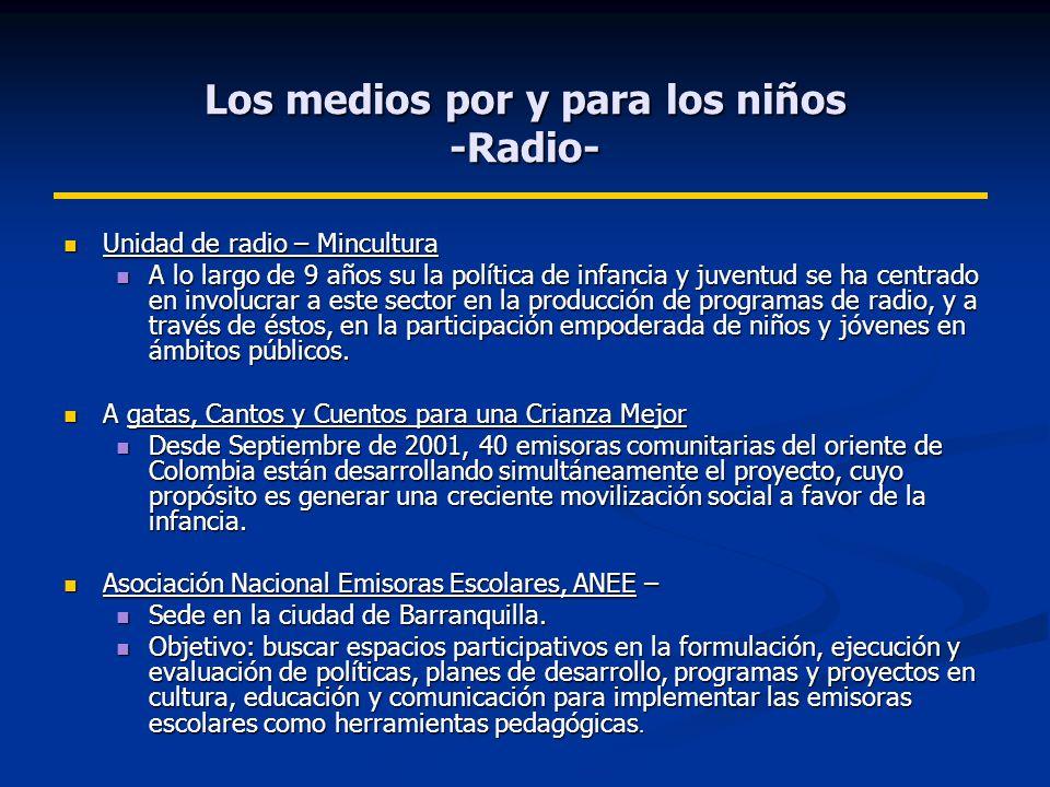 Los medios por y para los niños -Radio- Unidad de radio – Mincultura Unidad de radio – Mincultura A lo largo de 9 años su la política de infancia y juventud se ha centrado en involucrar a este sector en la producción de programas de radio, y a través de éstos, en la participación empoderada de niños y jóvenes en ámbitos públicos.