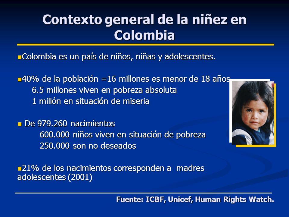 Contexto general de la niñez en Colombia Colombia es un país de niños, niñas y adolescentes.