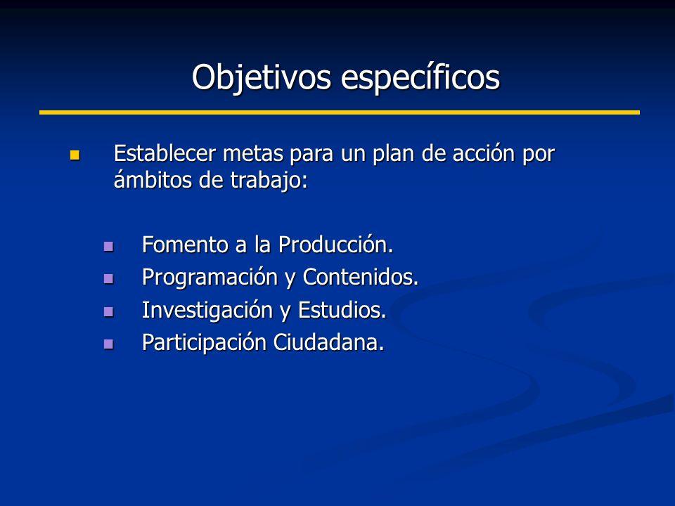 Objetivos específicos Establecer metas para un plan de acción por ámbitos de trabajo: Establecer metas para un plan de acción por ámbitos de trabajo: Fomento a la Producción.