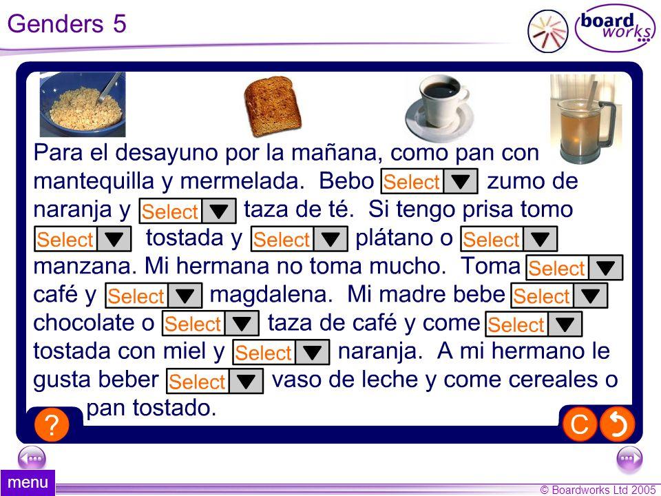 © Boardworks Ltd 2005 22 of 44 menu Genders 5