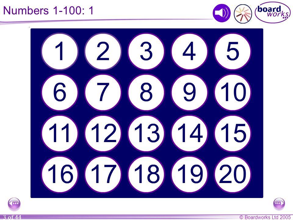 © Boardworks Ltd 2005 3 of 44 Numbers 1-100: 1