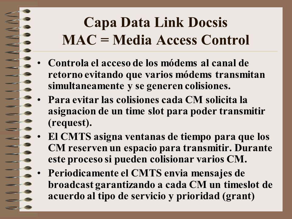Capa Data Link Docsis MAC = Media Access Control Controla el acceso de los módems al canal de retorno evitando que varios módems transmitan simultaneamente y se generen colisiones.