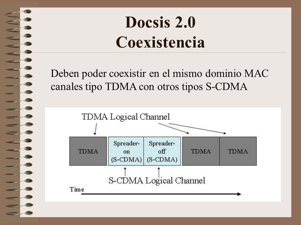 Docsis 2.0 Coexistencia Deben poder coexistir en el mismo dominio MAC canales tipo TDMA con otros tipos S-CDMA