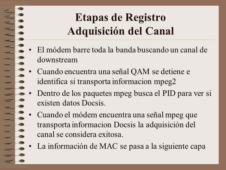 Etapas de Registro Adquisición del Canal El módem barre toda la banda buscando un canal de downstream Cuando encuentra una señal QAM se detiene e identifica si transporta informacion mpeg2 Dentro de los paquetes mpeg busca el PID para ver si existen datos Docsis.