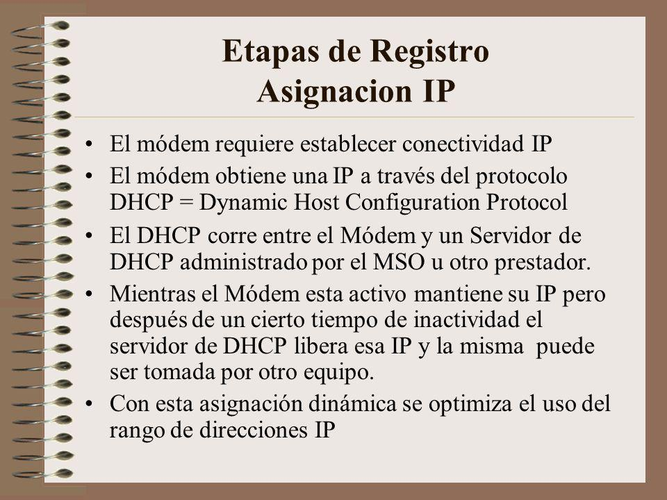 Etapas de Registro Asignacion IP El módem requiere establecer conectividad IP El módem obtiene una IP a través del protocolo DHCP = Dynamic Host Configuration Protocol El DHCP corre entre el Módem y un Servidor de DHCP administrado por el MSO u otro prestador.