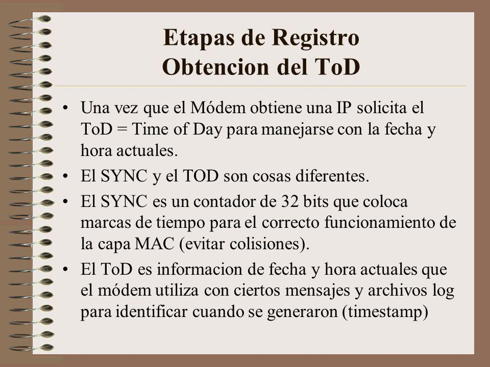 Etapas de Registro Obtencion del ToD Una vez que el Módem obtiene una IP solicita el ToD = Time of Day para manejarse con la fecha y hora actuales.