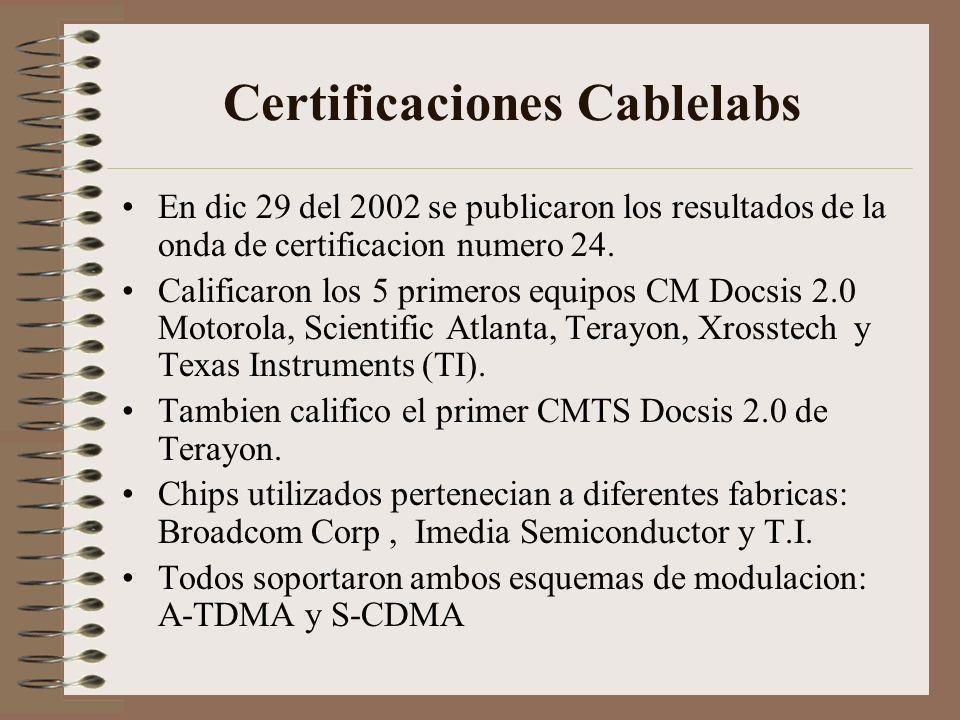 Certificaciones Cablelabs En dic 29 del 2002 se publicaron los resultados de la onda de certificacion numero 24.