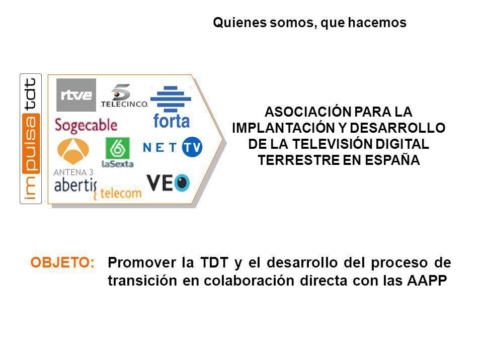 OBJETO: Promover la TDT y el desarrollo del proceso de transición en colaboración directa con las AAPP ASOCIACIÓN PARA LA IMPLANTACIÓN Y DESARROLLO DE