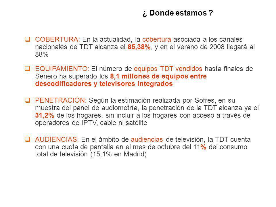 ¿ Donde estamos ? COBERTURA: En la actualidad, la cobertura asociada a los canales nacionales de TDT alcanza el 85,38%, y en el verano de 2008 llegará