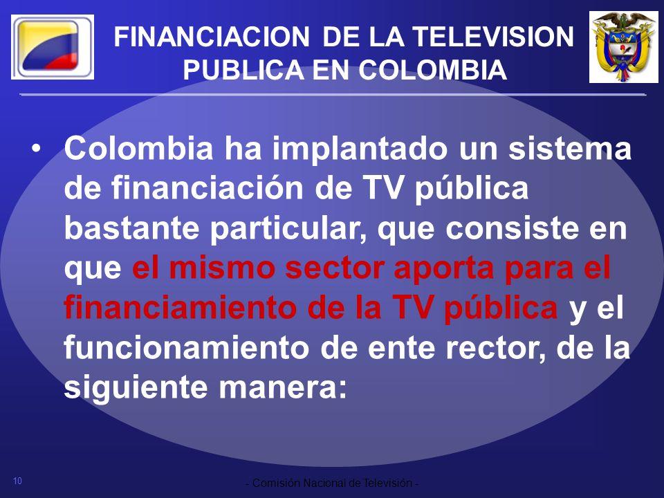 10 - Comisión Nacional de Televisión - FINANCIACION DE LA TELEVISION PUBLICA EN COLOMBIA Colombia ha implantado un sistema de financiación de TV públi