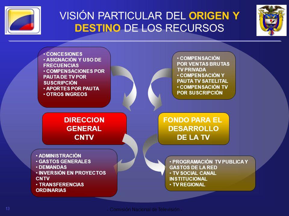 13 - Comisión Nacional de Televisión - VISIÓN PARTICULAR DEL ORIGEN Y DESTINO DE LOS RECURSOS DIRECCION GENERAL CNTV CONCESIONES ASIGNACIÓN Y USO DE F
