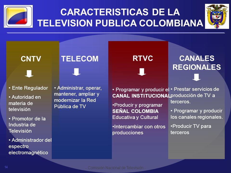 14 - Comisión Nacional de Televisión - CARACTERISTICAS DE LA TELEVISION PUBLICA COLOMBIANA CNTV Ente Regulador Autoridad en materia de televisión Prom