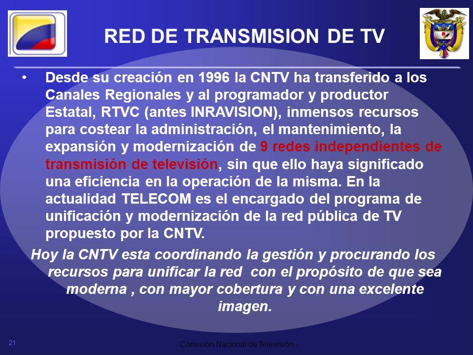 21 - Comisión Nacional de Televisión - RED DE TRANSMISION DE TV Desde su creación en 1996 la CNTV ha transferido a los Canales Regionales y al program